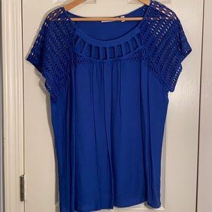 EUC Notations blue blouse